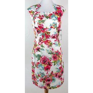 NWT Tahari ASL White Floral Print Sheath Dress 6